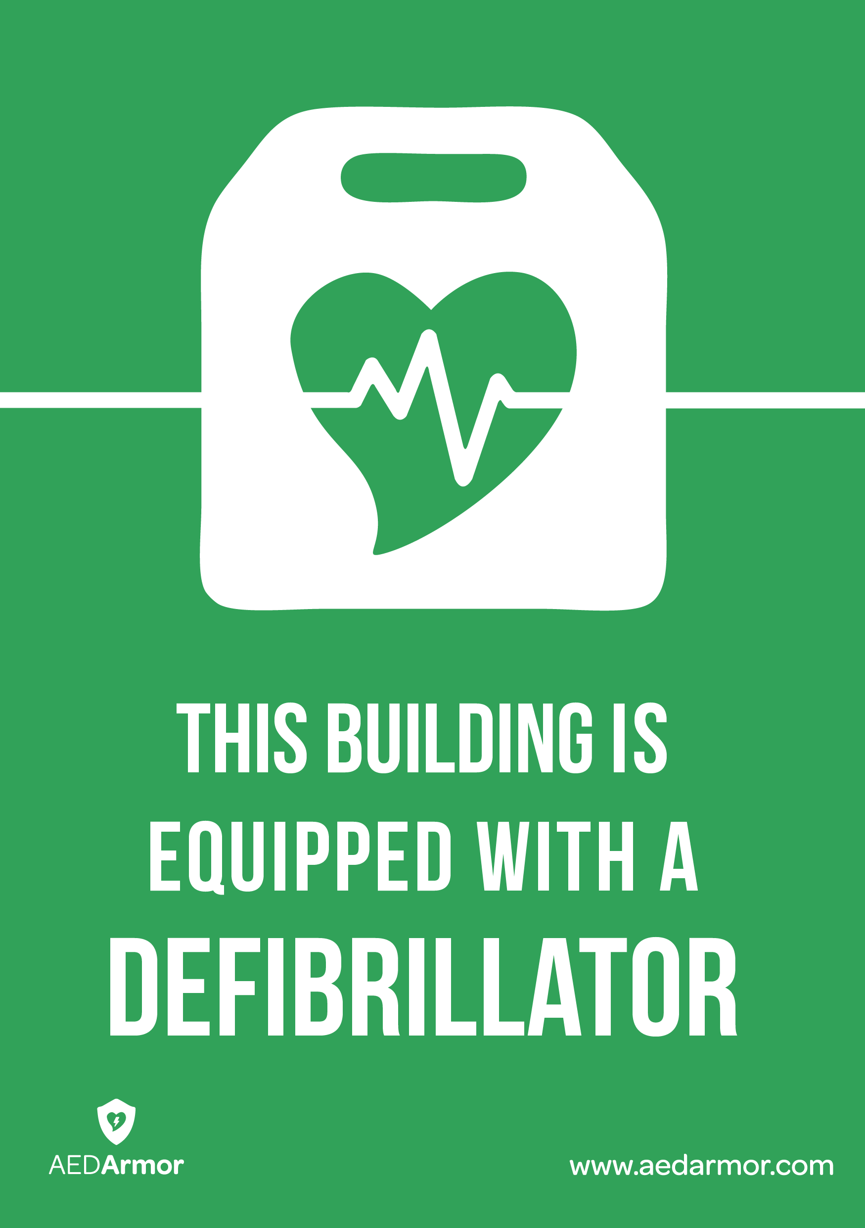 'This building is equipped with a defibrillator' A5 Sticker
