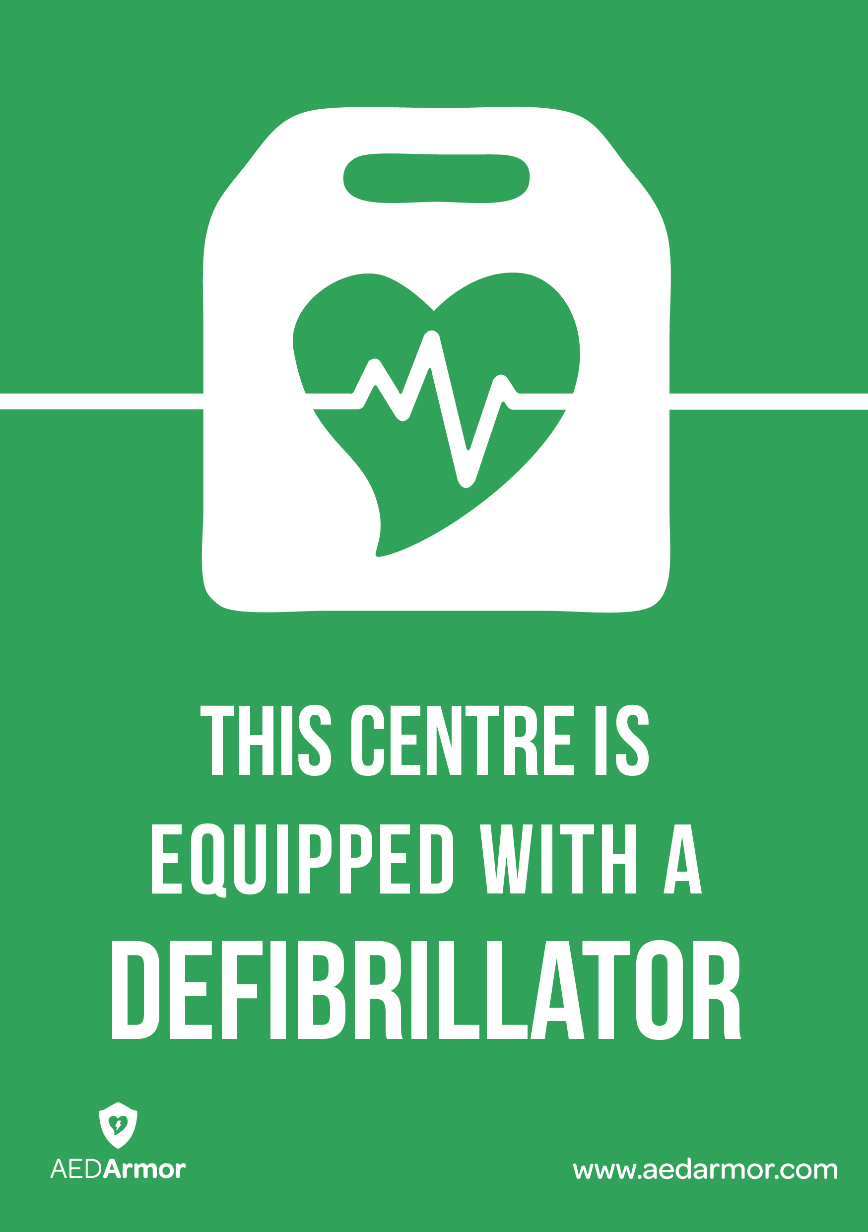 'This centre is equipped with a defibrillator' A5 Sticker
