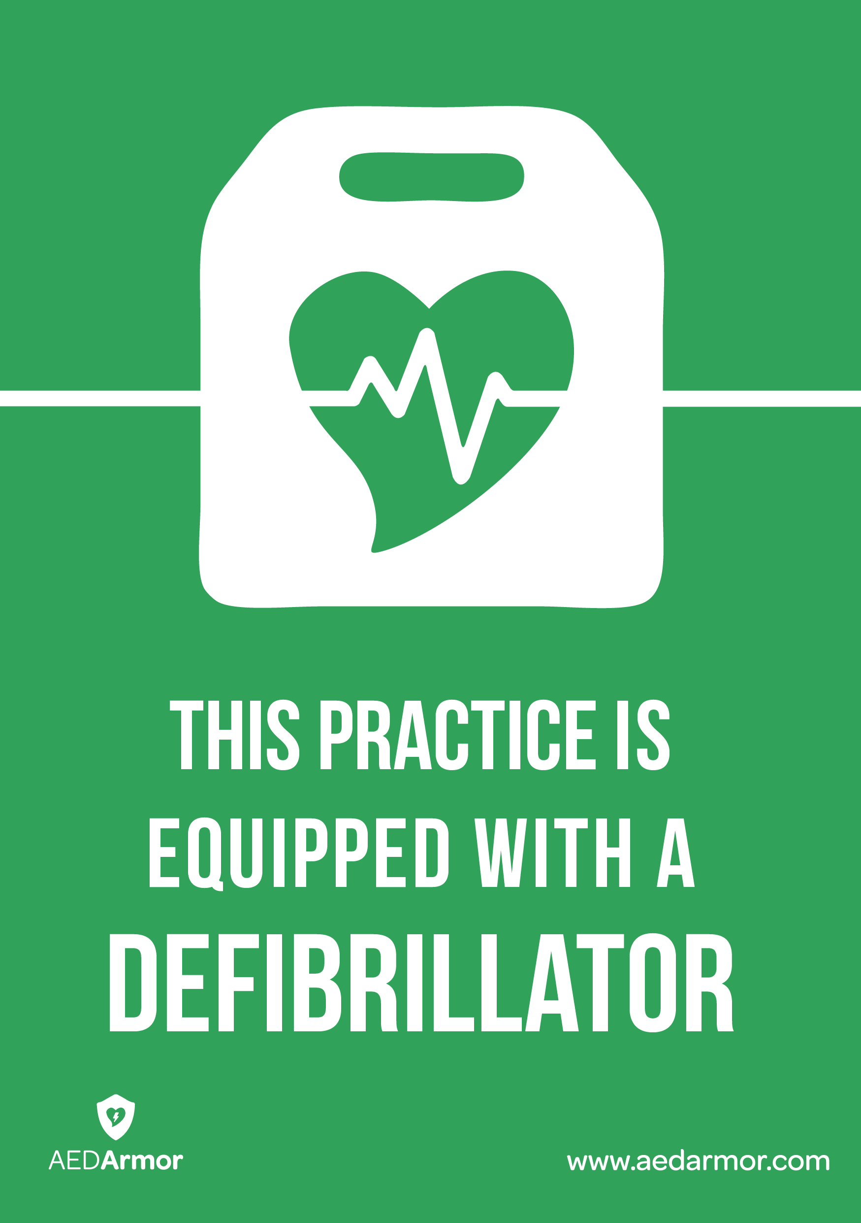 'This practice is equipped with a defibrillator' A5 Sticker