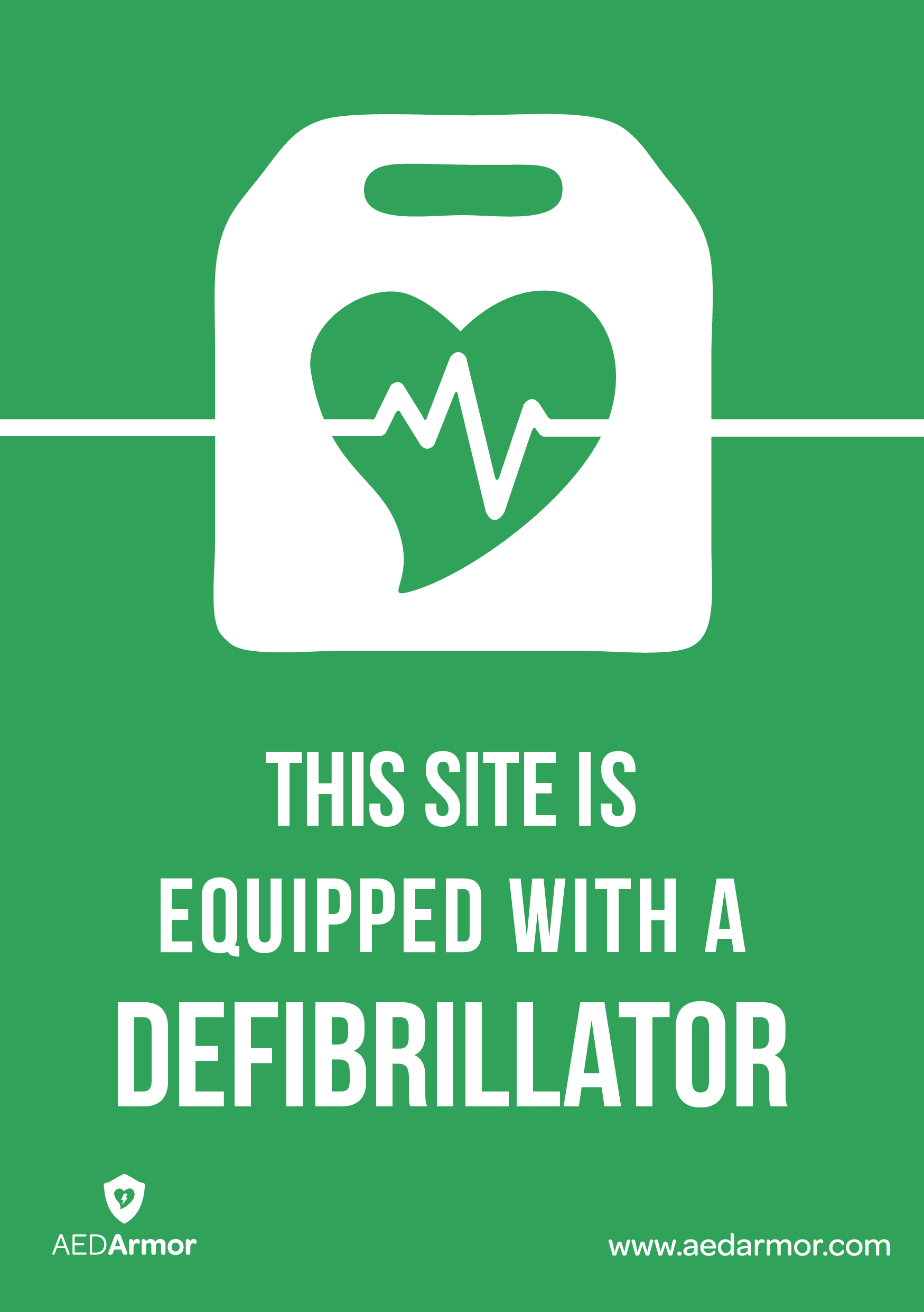 'This site is equipped with a defibrillator' A5 Sticker