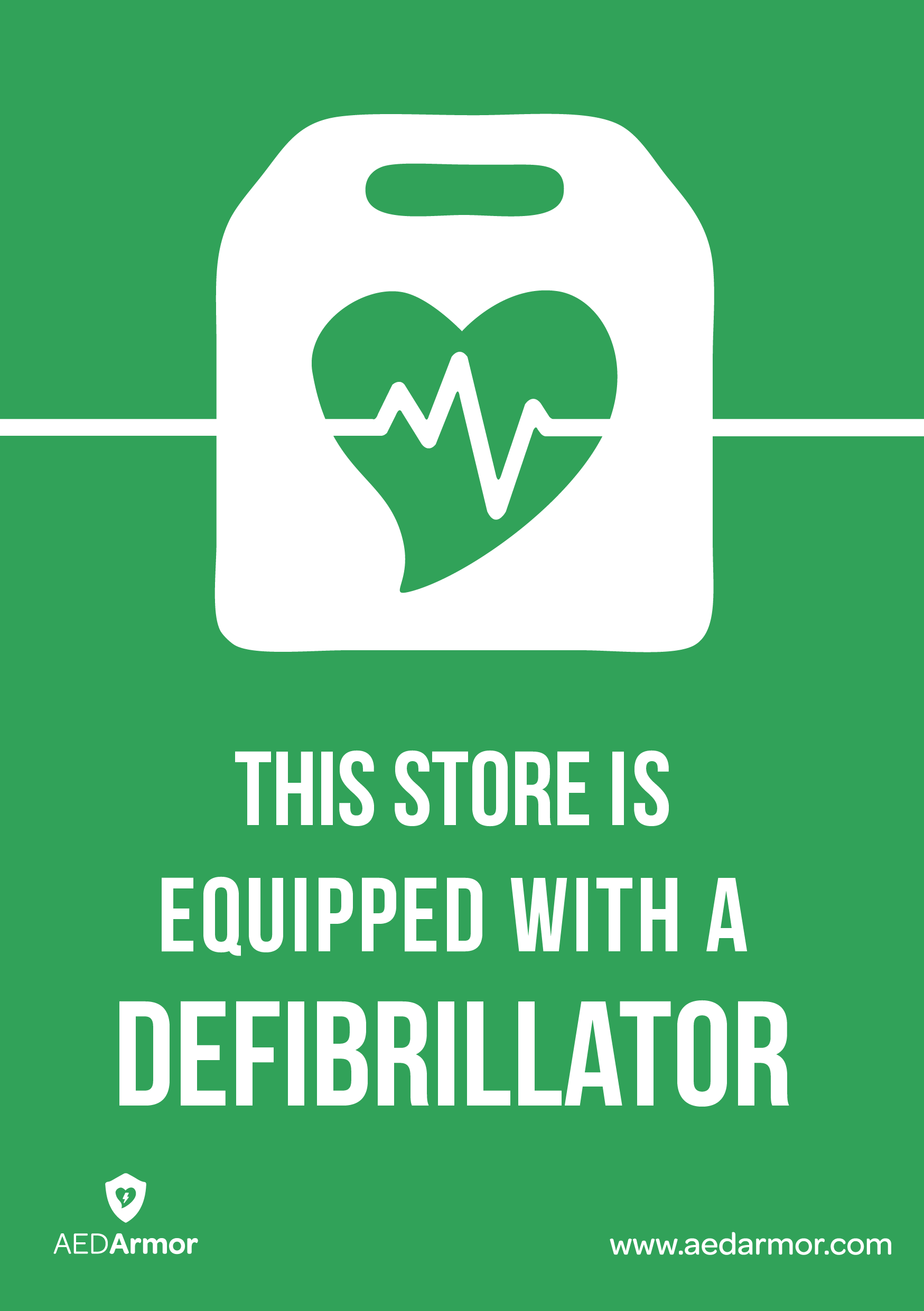 'This store is equipped with a defibrillator' A5 Sticker
