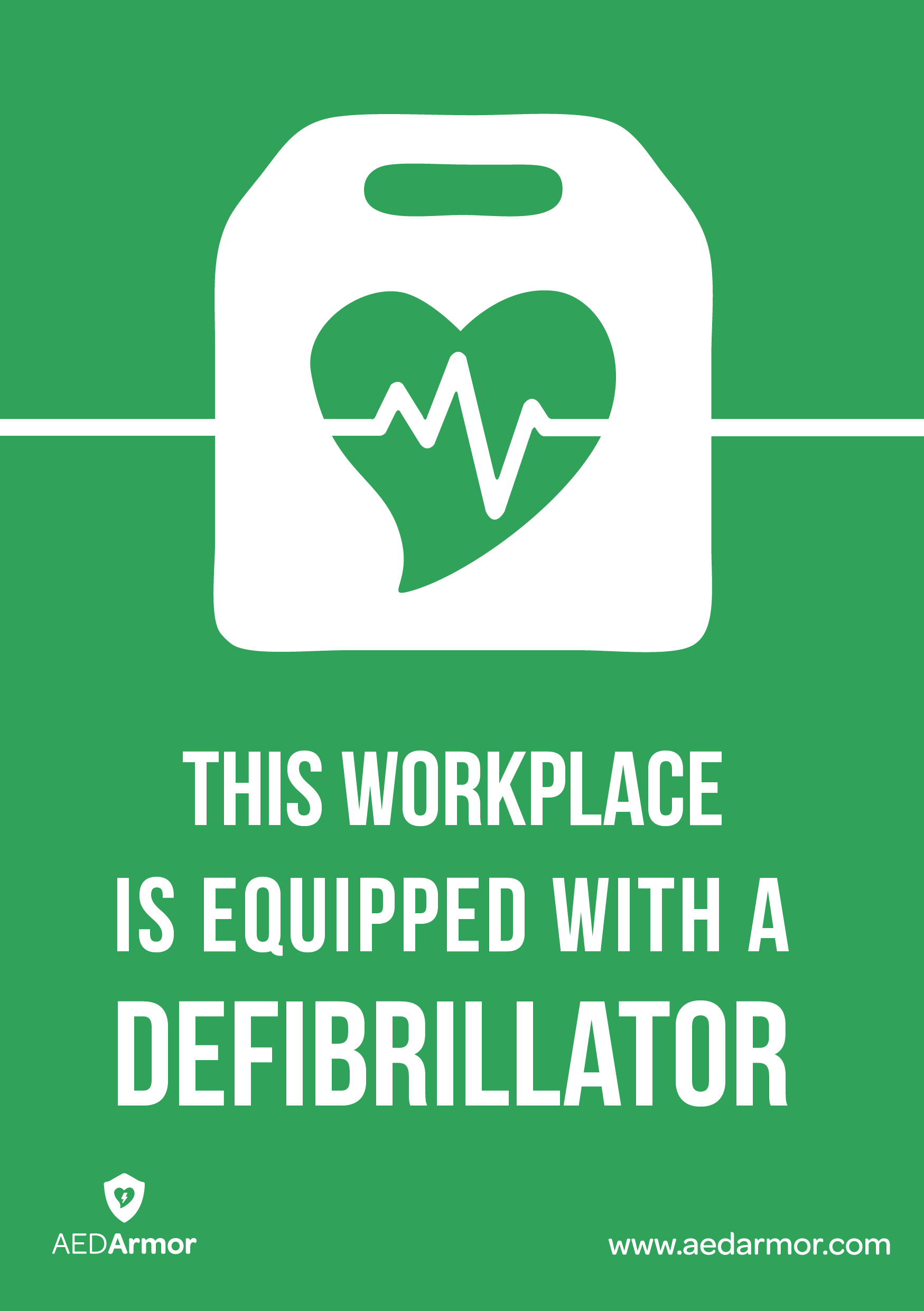 'This workplace is equipped with a defibrillator' A5 Sticker