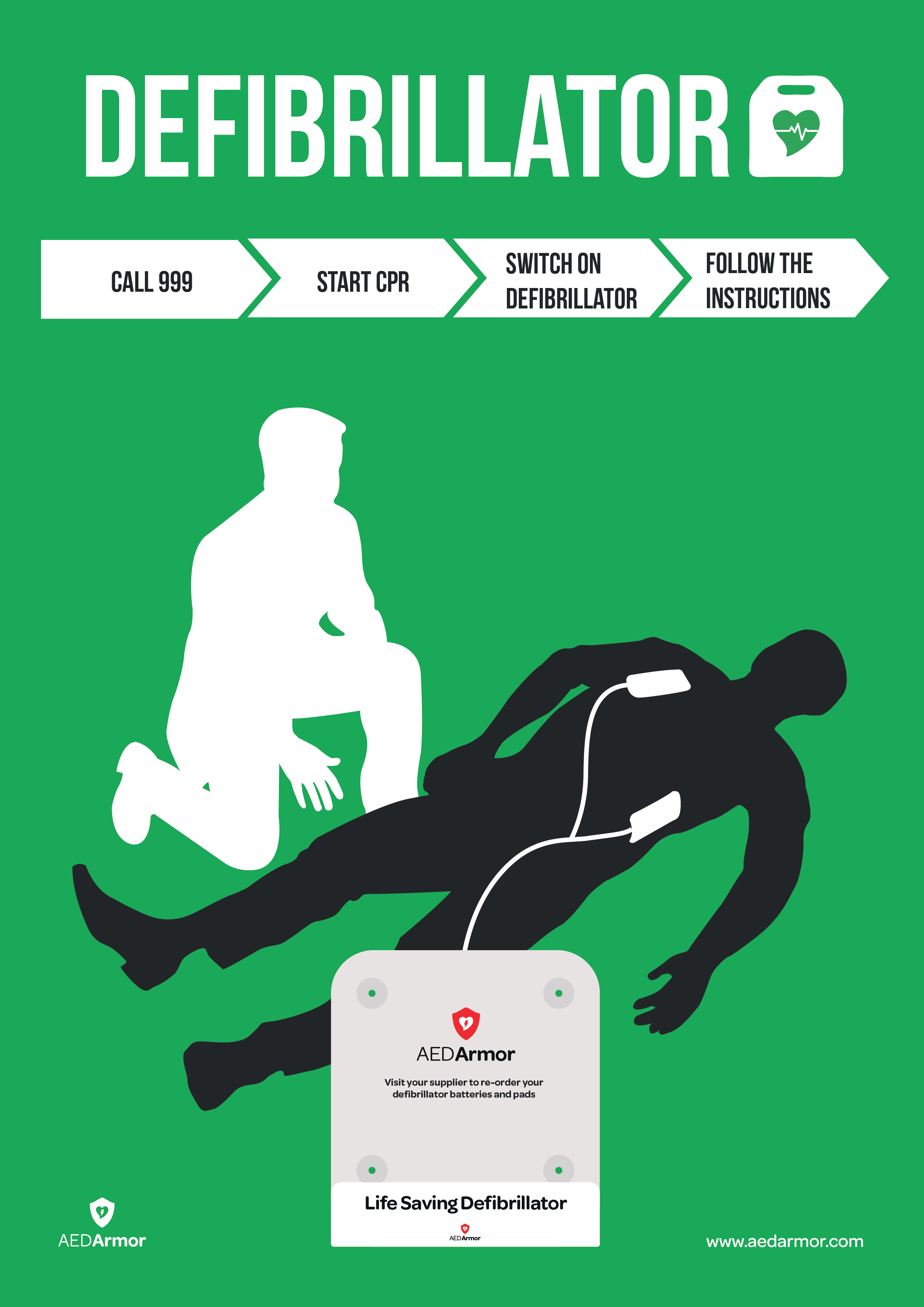 AED Armor Silhouette Rescue Poster for AED Armor Wall Bracket